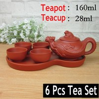 Hot Sale 6 Pcs Kung Fu Tea Set [1 Teapot+1 Tray +4 Cups] Travel Chinese Porcelain Sets Ceramic Gongfu Yixing Clay Tea Service