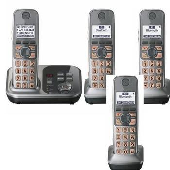 Aparelhos 4 KX-TG7731S 1.9 GHz Digital telefone sem fio DECT 6.0 Link para Celular via Bluetooth sistema de Telefone Sem Fio com Secretária Eletrônica