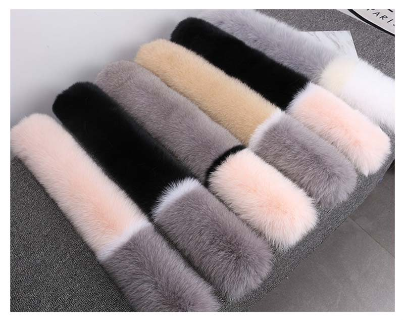 Winter fashion luxury fox fur color blocking collar scarf