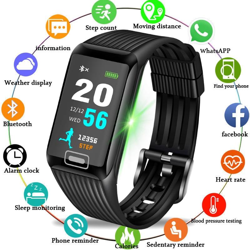 2019 BANGWEI New Women Sport smart watch Fitness tracker Smart Waterproof Pedestal Watch Colorful LED Touch Screen Watch+B