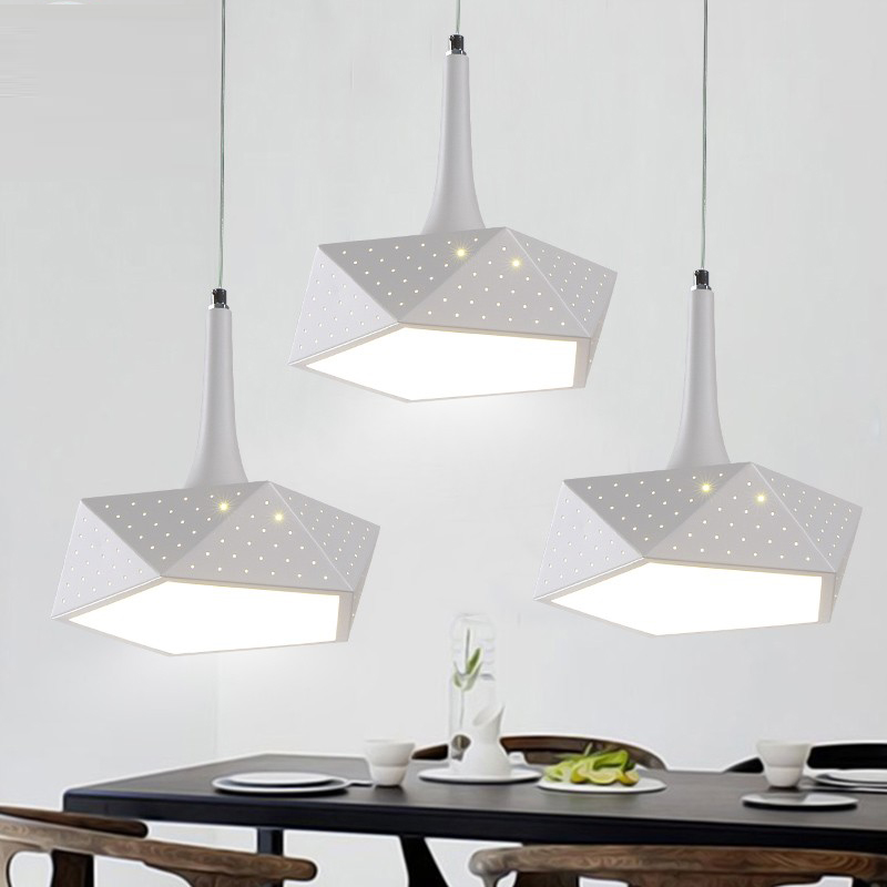 iron WHITE Pendant Lights Led creative personality modern simple bar bar geometric dining room restaurant lights three CL цена