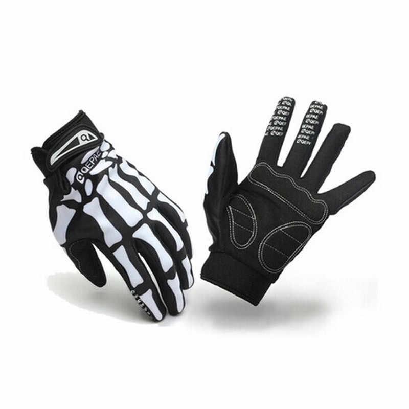 M/L/XL kış eldiven Unisex kalınlaşmak açık eldiven spor bisiklet bisiklet motosiklet kafatası iskelet tam parmak eldiven Gants hiver