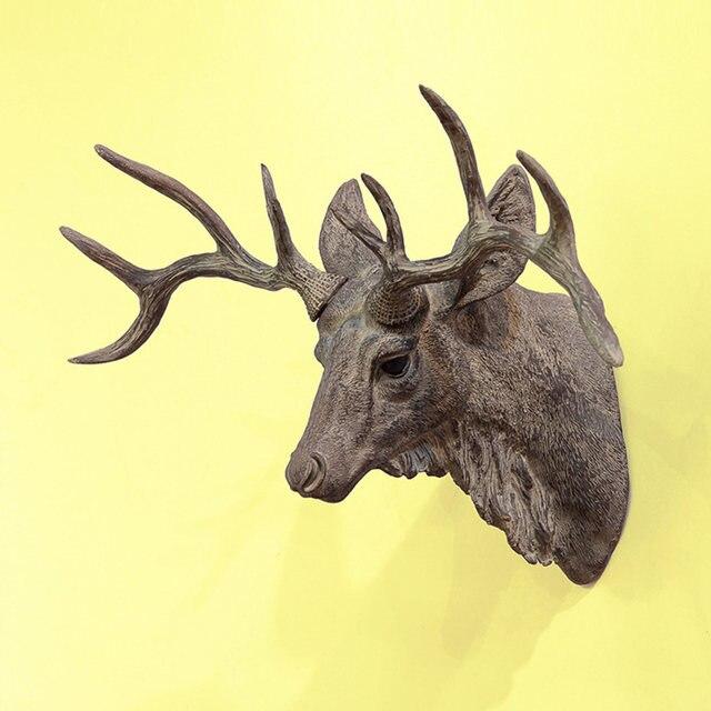Modern Wall Mounted Deer Head Wall Decoration Resin Rhinoceros Cavel Deer Head Statues & Sculptures For Bar Coffee Decor