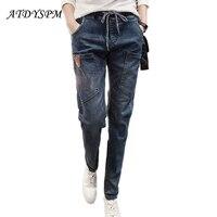 2017 Plus Größe Marke Jeans Weibliche Beiläufige Lose Jeans frauen Elastische Taille Fashion Cotton Jeans Denim Pluderhosen Für frau