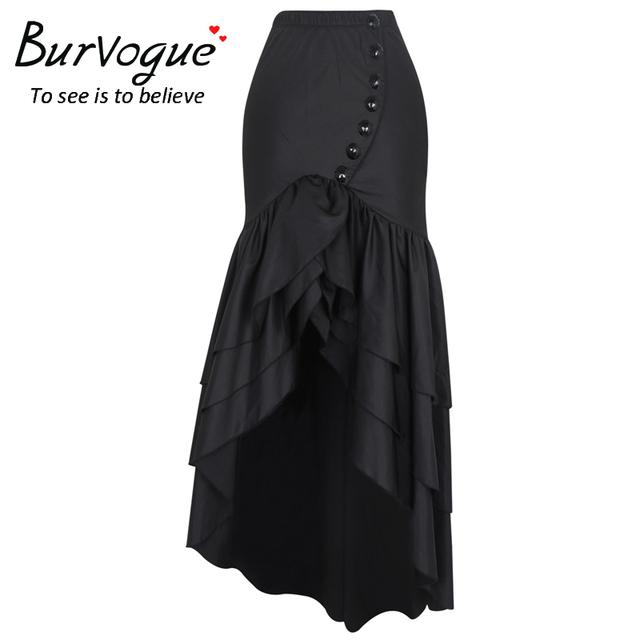 Burvogue 2017 Women Long Fashion Skirt Steampunk Gothic Style Skirts Sexy Slim Fishtail Corset Elastic Mermaid Maxi Skirts