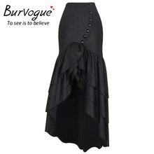 Burvogue New Women Fashion Long Skirt Steampunk Gothic Skirts Sexy Slim Fishtail Long Corset Skirt Maxi Mermaid Skirts
