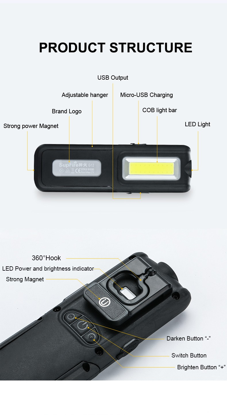 Cob Light Linterna Led Flashlight Supfire G12 Vehicle Maintenance Usb Work Light For Convoy Fenix Nitecore Bicycle Light A013 Bicycle Accessories