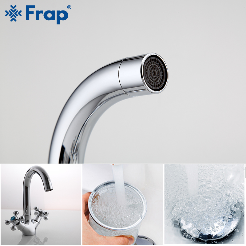 FRAP Bathroom Chrome Basin Faucets Kitchen Faucet Daul Handle Sink Faucet Tap Bath Hot and Cold Water Mixer Faucet F1319