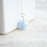 Blue Luminous Glow In The Dark Pendant 925 Sterling Silver Chain Vintage Collar Necklace Women Diy