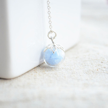 Blue luminous glow in the dark pendant 925 sterling silver chain vintage collar necklace women diy fine charms retro jewelry