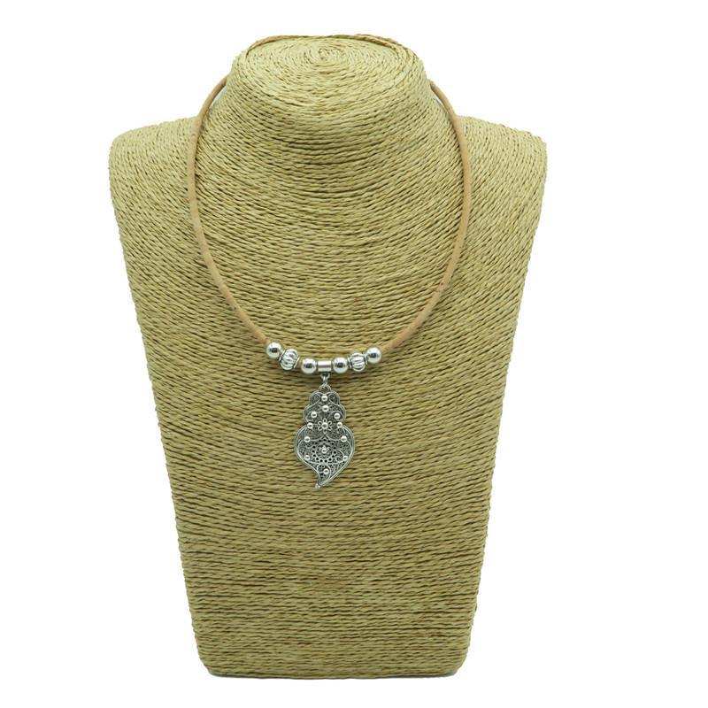 Natural cork antique Silver Viana Heart Braided Cork Cord-3mm_with balls and spik women original handmade jewelry