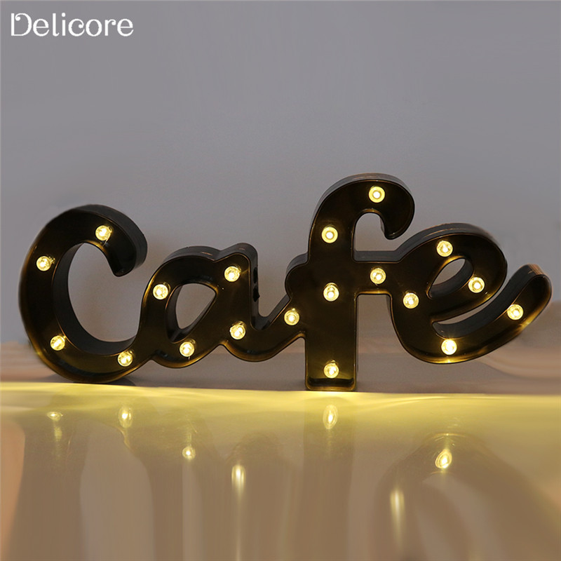 DELICORE New 19 LEDs Letter Cafe Shaped Night Light Battery Warm White Light Cafe Decoration Wall Hanging S207