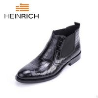 HEINRICH 2018 Genuine Leather Black Luxury Fashion Classic Business Office Formal Ankle Boots Crocodile Pattern Men Shoes