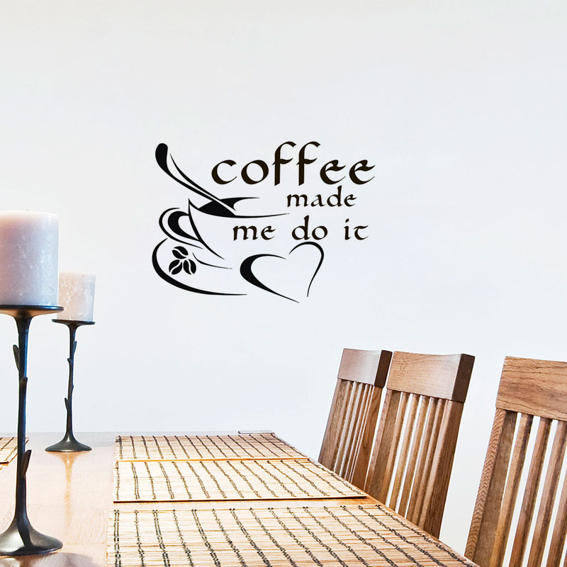 Kaffee Liess Mich Es Tun Quote Wandaufkleber Kaffeetasse ...