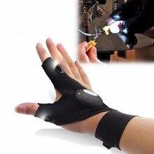 5pcs Fishing Glove LED Luminous Men Outdoor Auto Repair Lighting Half Finger Glove Outdoor Sports Anti Slip Fishing Right/Left