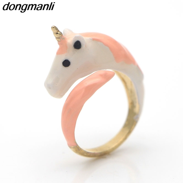P1024 Dongmanli cute horse Adjustable Ring Color Enamel Glaze Beautiful Ring For