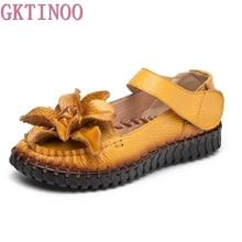 GKTINOO Plus size 35-43 Summer Women Shoes Woman Genuine Leather Flats Sandals Casual Flowers Handmade Sandals Women Sandals