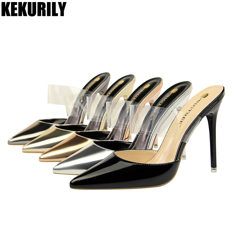 Women Shoes Patent leather high heels Slides Pointed toe Slippers PVC Mules ladies Sandals gold silver black Bronze Champagn