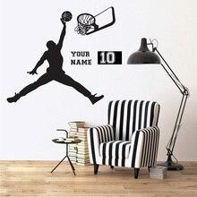 цена на Slam Dunk Basketball Removable Custom Name Nursery Bedroom Wall Sticker Personalized  Name Number Decor Boys Poster Mural W187
