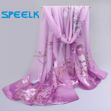 6 Colors New Chiffon Scarves Women Summer Silk Scarf Chiffon Thin Shawls And Wraps Foulard Flower Hijab Stoles Wholesale(China)