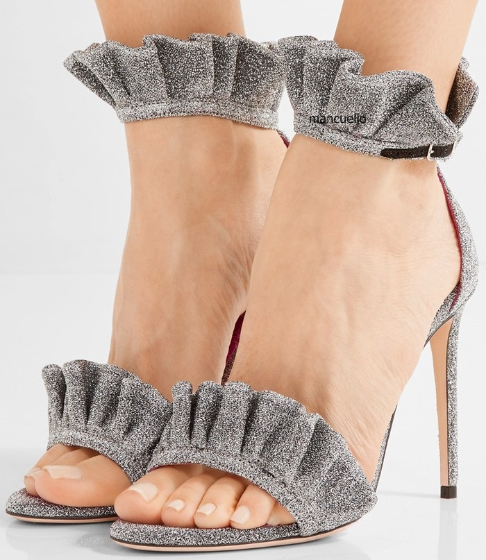 New Arrival Trendy Design Grey Suede Open Toe Thin High Heel Sandals Fancy Women Falbala Line Buckle Stiletto Heel Dress Sandals trendy style stiletto heel and double buckle design women s sandals