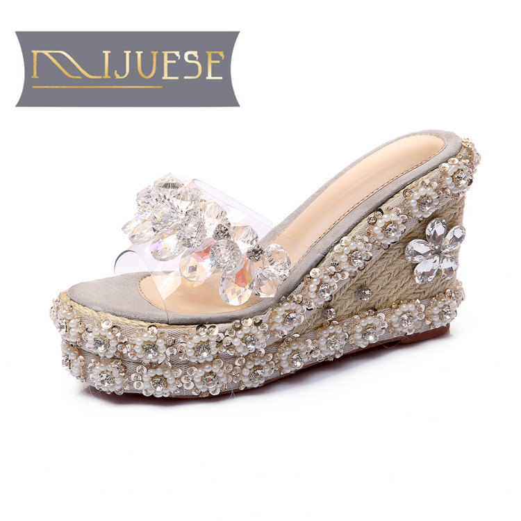 MLJUESE 2018 women slippers summer slip on open toe gray color PVC crystal wedges pumps sandals