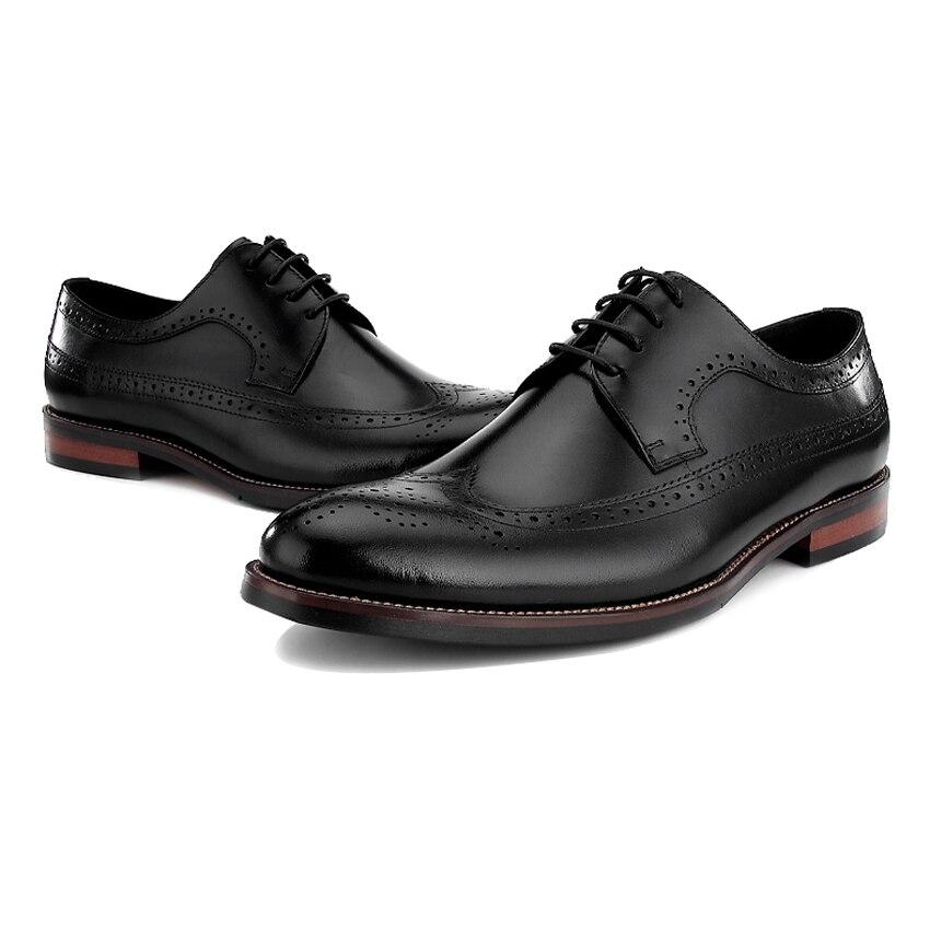 Vintage Boda Punta Hombres Redonda Oxfords Brogue Pisos Vestido Zapatos Wingtip marrón Hombre Cuero Formal Bql69 Diseñador Negro Auténtico Británico Masculinos 1wq71zr