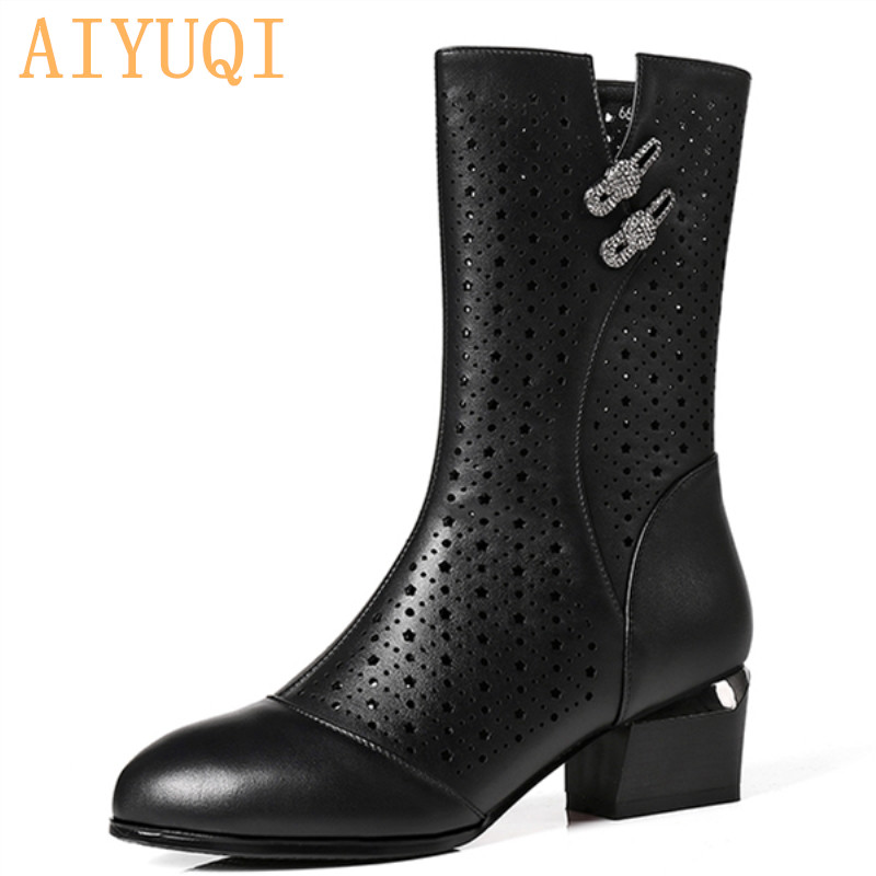 AIYUQI 2019 New Womens Genuine Leather Summer Boots Mesh Hole Hollow Breathable Hole Riding fashion boots women shoesAIYUQI 2019 New Womens Genuine Leather Summer Boots Mesh Hole Hollow Breathable Hole Riding fashion boots women shoes