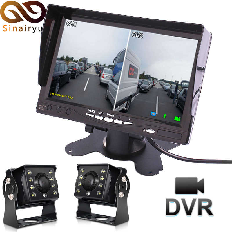 Melacak Bus AHD 7 Inch IPS Layar Mobil Closed Circuit Television Parkir Monitor dengan DVR Perekam Video Digital + 2 kamera AHD