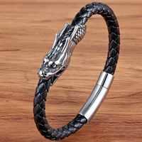 XQNI bijoux pour hommes 19/21CM rétro symbole chinois motif Dragon Bracelet en cuir véritable avec fermoir aimant pour cadeau de fête d'anniversaire