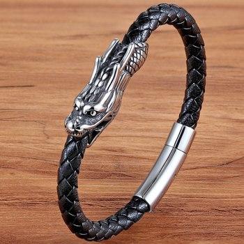 XQNI mężczyzn biżuteria 19/21CM Retro chiński Symbol wzór smoka skórzana bransoletka z zapięcie magnetyczne na prezent urodzinowy