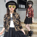 Moda Primavera Outono Crianças Meninas Casaco de Camuflagem Jaqueta Causal Curto Micro Elástica Roupas Meninas Cardigan Crianças Cothes