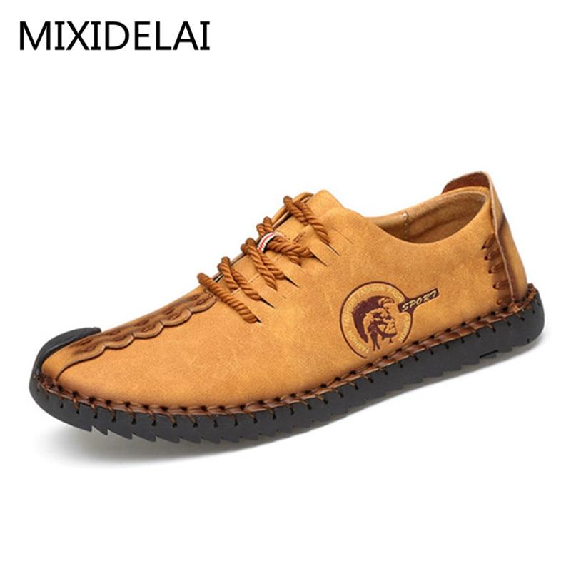 MIXIDELAI 2019 New Comfortable Casual Shoes Loafers Men Shoes Quality Split Leather Shoes Men Flats Hot Sale Moccasins Shoes