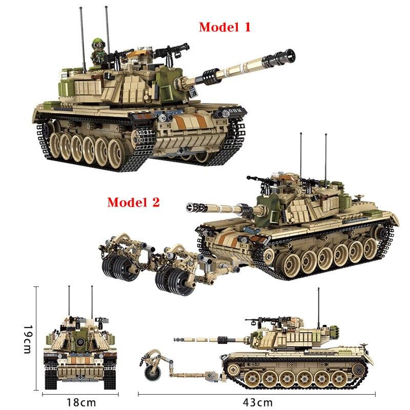 Panlos 1753 pièces armée réservoir blocs de construction briques militaires compatibles avec les armes Brinquedo Menina cadeau jouets pour enfants