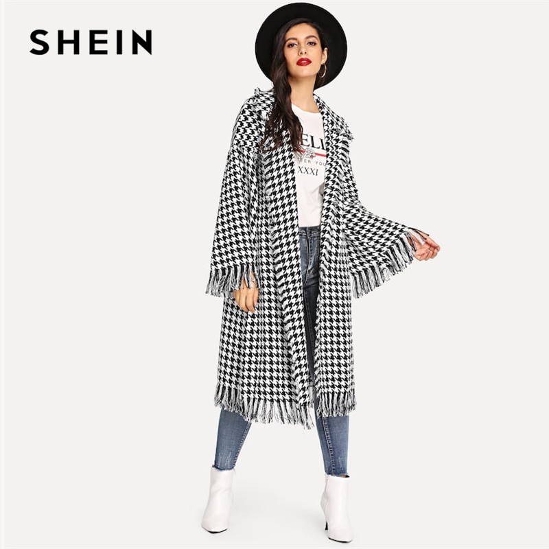 SHEIN Black And White Houndstooth Shawl Collar Bell Sleeve Fringe Detail Houndstooth Coat Autumn Highstreet Women Coat Outerwear