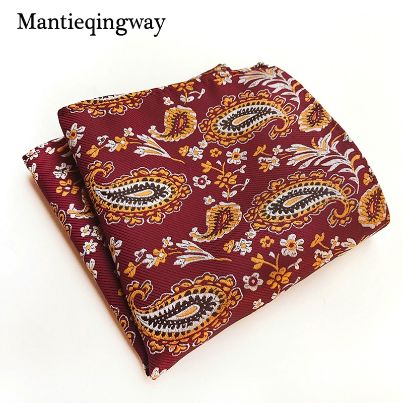 Mantieqingway Paisley Floral Printed Handkerchiefs For Mens Pocket Square Polyester Polka Dots Chest Towel Hanky For Business