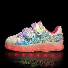 2018 новая детская легкая обувь с светодиодный свет обувь usb детская обувь ракушками световой Спорт на открытом воздухе обувь