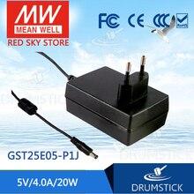цена на Selling Hot! MEAN WELL original GST25E05-P1J 5V 4A meanwell GST25E 5V 20W AC-DC High Reliability Industrial Adaptor
