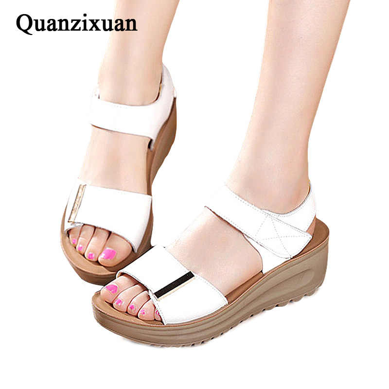 d64c98bb7dec Detail Feedback Questions about Quanzixuan Summer Sandals Women 2018  Platform Sandals Wedge Shoes White Bohemia Women Sandals Summer Flat  Sandals Women ...