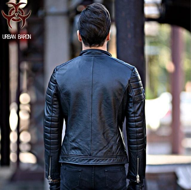 NEW ! 2017 David Beckham Leather Biker Jacket Black Stand Collar Oblique Zipper Genuine Cowskin Men Winter Slim Fit Motorcycle C