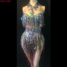 купить DS Colorful Fringes Rhinestones Bodysuit Women Stage Dance Costume Nightclub Dance Female Singer Show Bright Leotard Dj clothes дешево