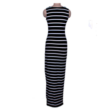 Striped Maxi Women Tunic Summer Beach Sundress For Women