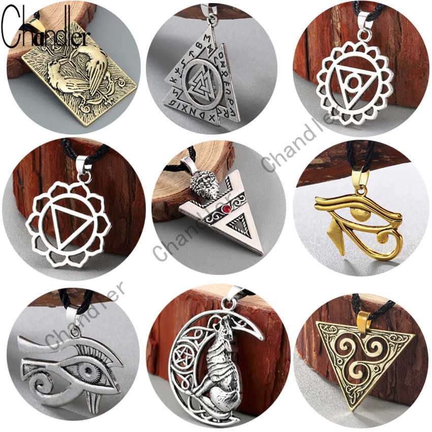 Chandler Egyptian Egypt Pyramid All-Seeing Evil Eye Illuminati Antique Silver Charm Pendant Necklace For Men Boys Fashion Bijoux