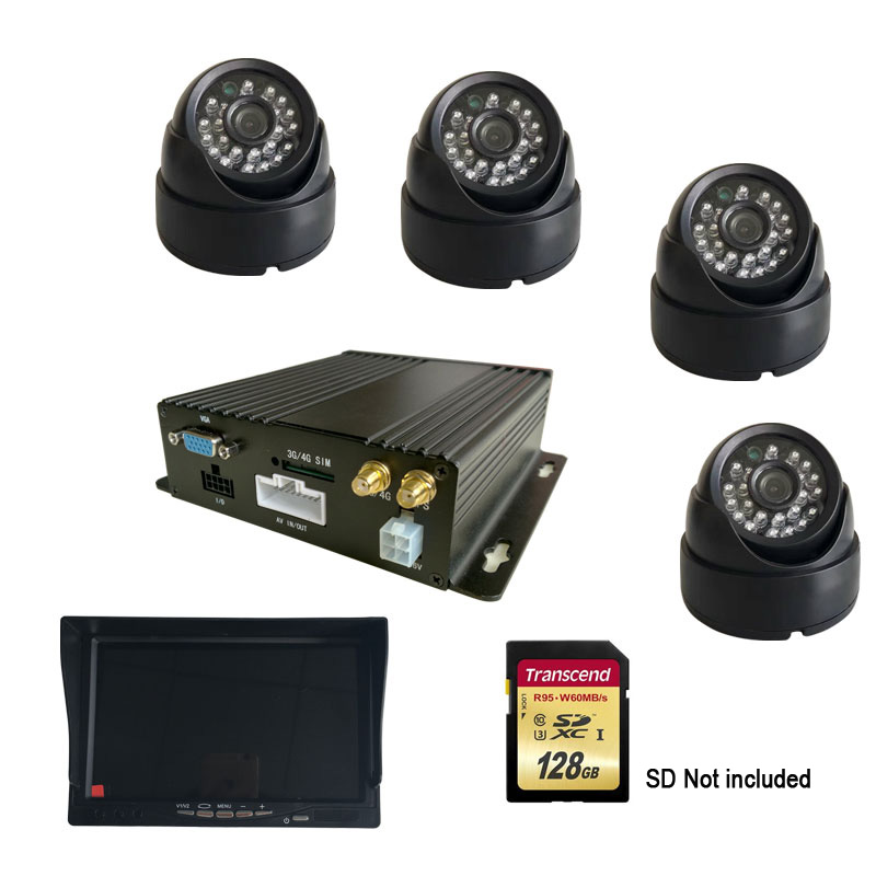 Linux System H.264 4CH Video/Audio Input GPS CCTV Vehicle AHD Mobile DVR With 4G Network Remote Monitoring Real Time цена