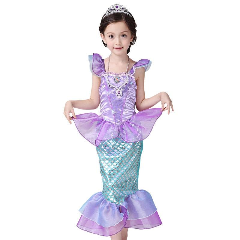 The Little Mermaid Fancy Kids Girls Dresses Princess Ariel Cosplay Halloween Costume ankle-length puff sleeve dress with mermaid