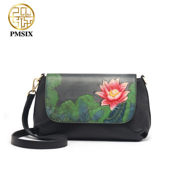 PMSIX 2020 Embossed Floral Genuine Leather  Shoulder Bag For Women High Quality Soft Ladies' Messenger Bags Black Retro Bags