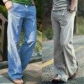 Calças de linho de algodão dos homens da primavera & outono 2017 solto linho inferior reta calça casual calças dos homens de lazer frete grátis lxy762