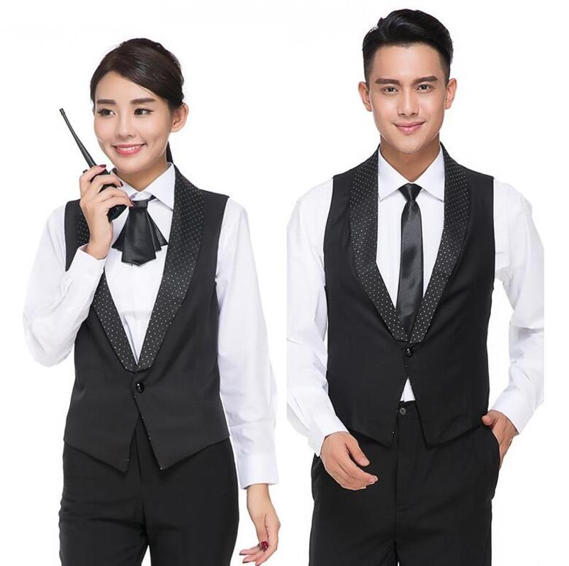 Hotel Staff Waitress Workwear KTV Catering Dining Restaurant Uniform Vest Cafe Fast Food Shop Waiter Male Black Overalls H2406