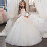 Girls Wedding Dress Flower kids Dresses for Girls Lace Bow Party Tulle Princess Birthday Dress First Communion Gown for Girls