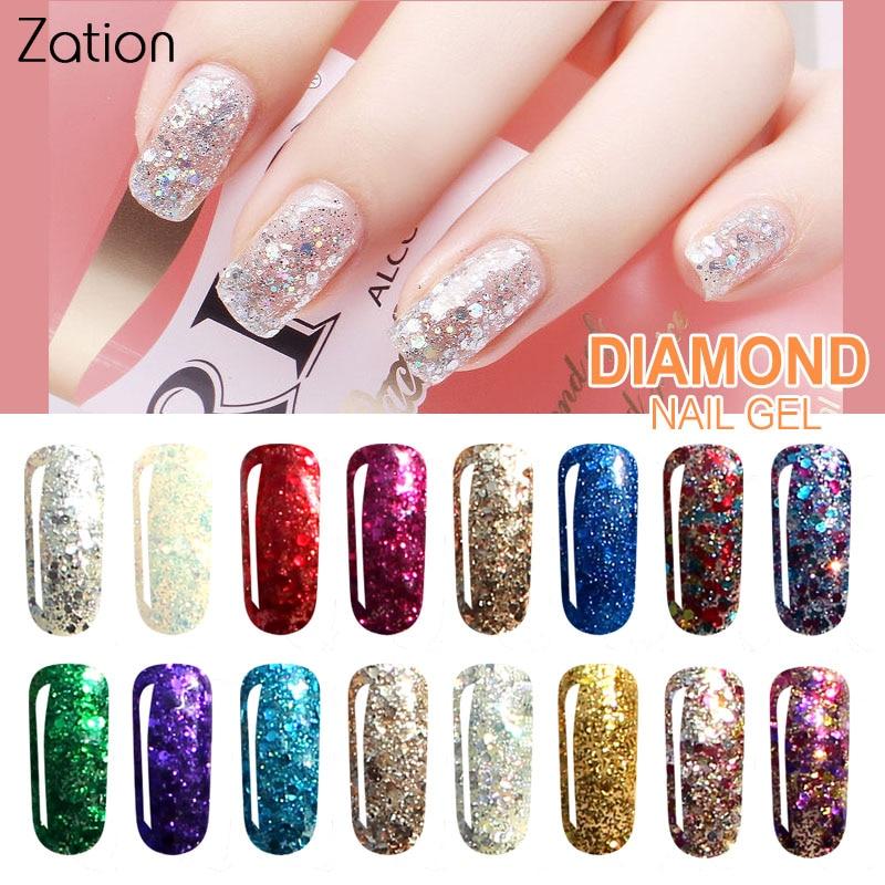 Zation 2019 Diamond Shiny Sequin Glitter Uv Gel Varnish Shine Shimmer Top Base Gel Lacquer Primer Manicure Gel Nail Polish